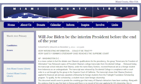Miami County Liberty posts an Obama hoax for over a month, with nobody checking facts on it