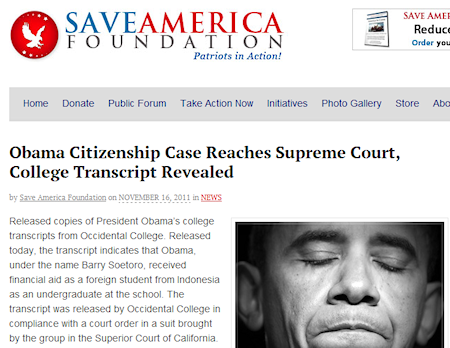 Save America Foundation prominently promotes a hoax regarding Barack Obama as a foreigner